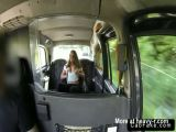 Amateur sucks huge dick of fake taxi driver in public