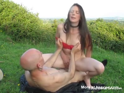 Woman Rides Big Dick On Green Lawn