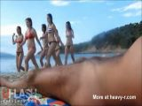 Dickflash for Sexy Teens on Public Beach