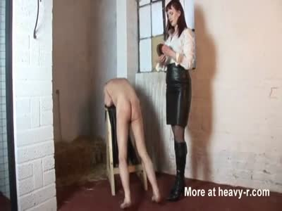 Cruel Mistress belting and kicking