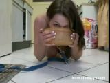 Teen On Leash Drinks Own Piss