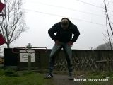 Woman PIssing In Her Riding Pants