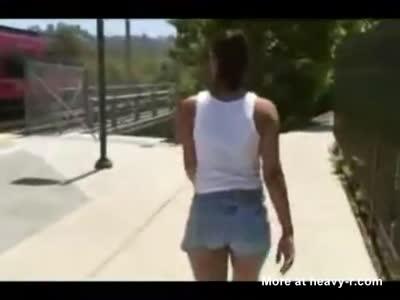 Hot ebony girl pooping on the sunny street